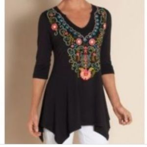 Soft Surroundings Adora Embroidered Tunic Top S